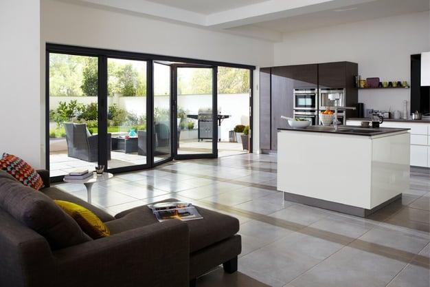 Beautiful living area with folding doors